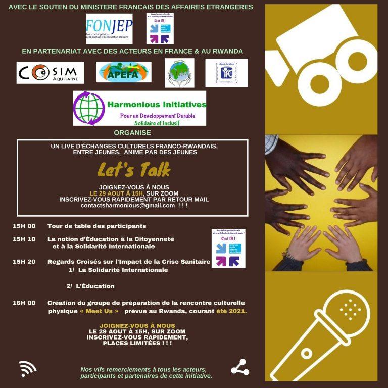 """Invitation – Live """"Let's Talk 4"""", Échanges Culturels Franco – Rwandais Entre Jeunes et Animé par des jeunes"""